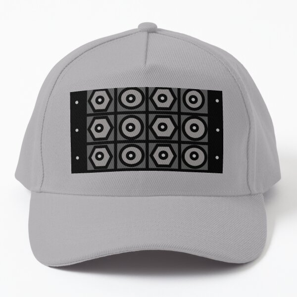Circles Squares and Hexagons In Black and Grays Baseball Cap