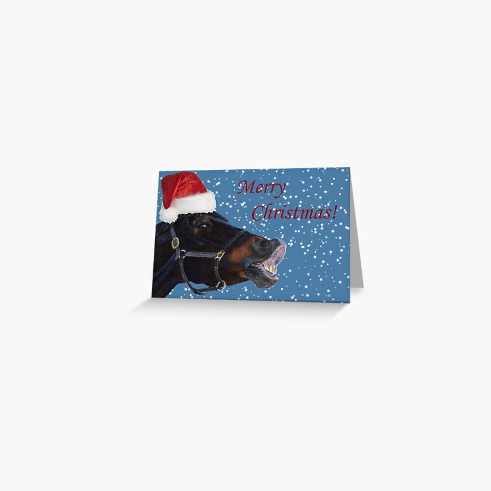 Lustiges Weihnachtspony Grußkarte