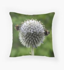 Macro Bumble Bees Throw Pillow