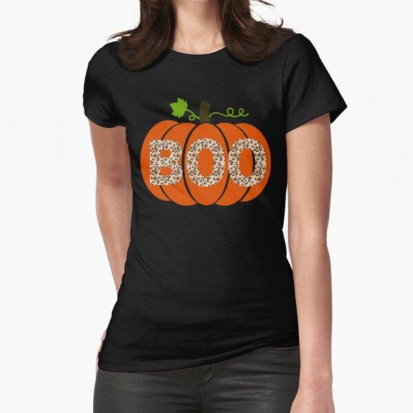 Pumpkin Leopard Print Boo Fitted T-Shirt