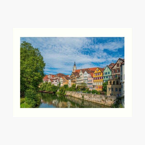 Tübingen - Ansichtskarte Ansicht von der Neckarbrücke Kunstdruck