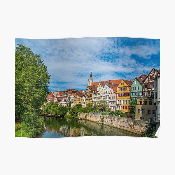 Tübingen - Picture Postcard View from the Neckar Bridge Poster