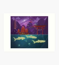 Junk Ship and Glow Sharks Art Print