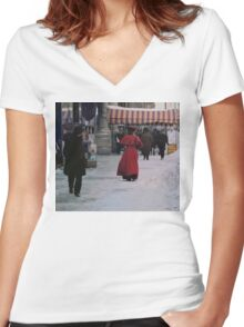 Woman in red Women's Fitted V-Neck T-Shirt