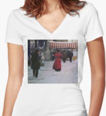Woman in red Fitted V-Neck T-Shirt