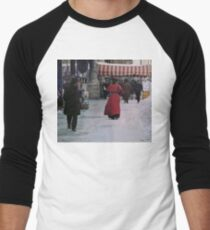 Woman in red Baseball ¾ Sleeve T-Shirt