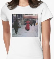 Woman in red Fitted T-Shirt