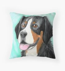 Greater Swiss Mountain Dog - Watercolor Portrait Throw Pillow