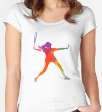 Woman tennis player 01 in watercolor Women's Fitted Scoop T-Shirt