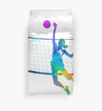 Woman volleyball player in watercolor Duvet Cover