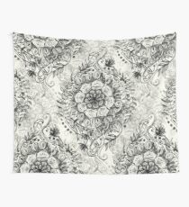 Messy Boho Floral in Charcoal and Cream  Wall Tapestry