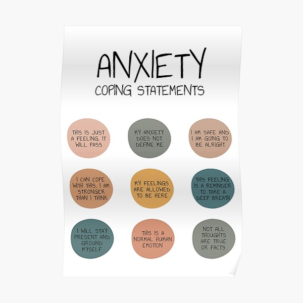 Anxiety Coping Statements Anxiety Help Management Mental Health Self Care Anxiety Relief Self Help Poster
