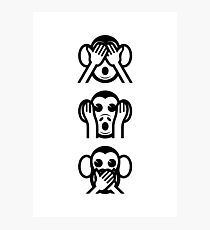 3 Wise Monkeys Emoji Photographic Print