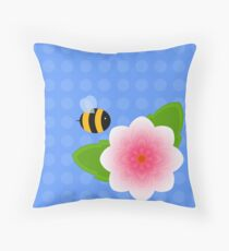 Bumble Blossom Throw Pillow