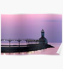 Michigan City (Indiana) Light at Twilight Poster