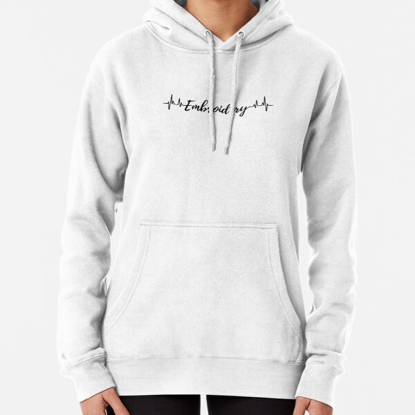 Embroidery Heartbeat Pullover Hoodie