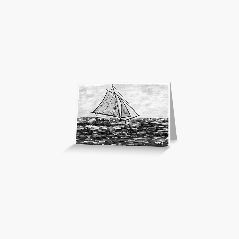 Afloat upon the sea Greeting Card