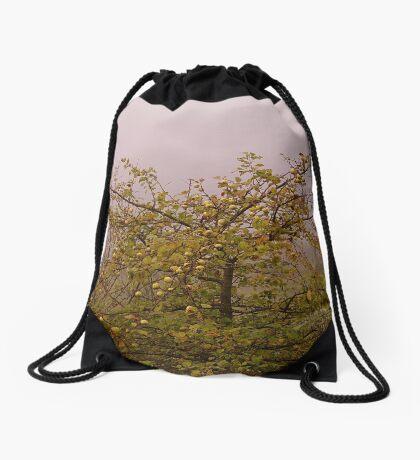 Foggy morning apple tree Drawstring Bag