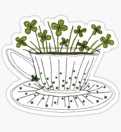 Lucky Cup of Clovers Sticker