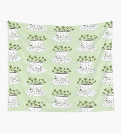 Lucky Cup of Clovers Wall Tapestry