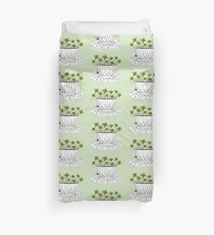 Lucky Cup of Clovers Duvet Cover