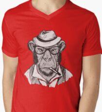Hipster monkey with hat Men's V-Neck T-Shirt
