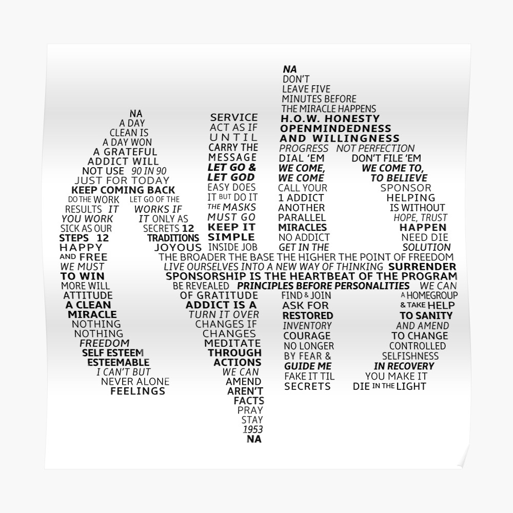 """Narcotics Anonymous Logo (in slogans)"" Poster by ..."