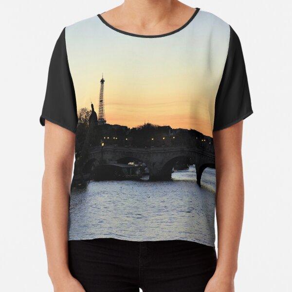 Pont-Neuf at sunset, Paris Chiffon Top