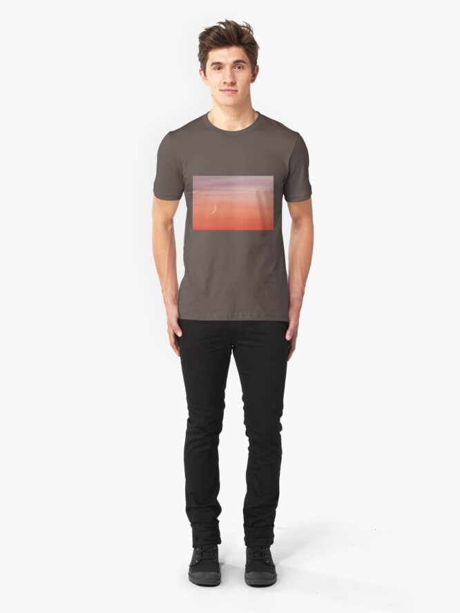 Alternate view of Moon crescent and sunset sky Slim Fit T-Shirt