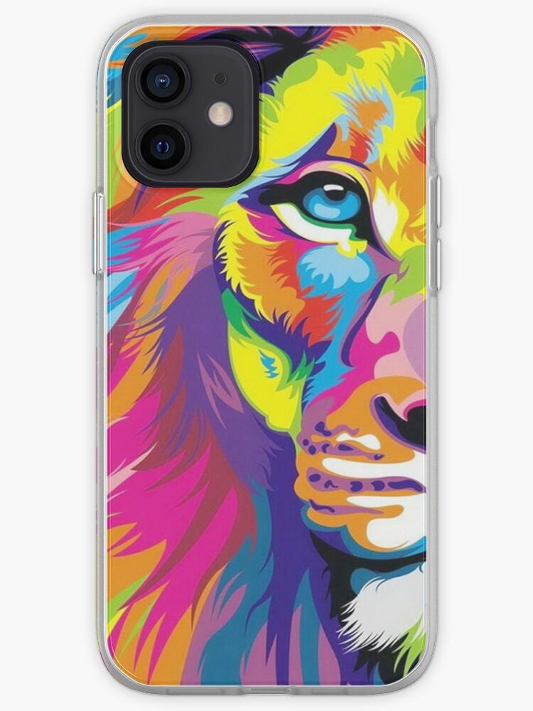 Lion multicolore   Coque iPhone