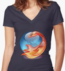 FIREFOX FAN Women's Fitted V-Neck T-Shirt