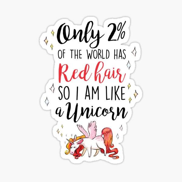Red Head Unicorn Sticker