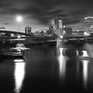 Tulsa Lights - Centennial Park View (Black and White) by Gregory Ballos
