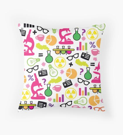 Crazy Neon Scientist Pattern Throw Pillow