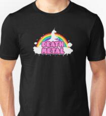 DEATH METAL! (Funny Unicorn / Rainbow Mosh Parody Design) Slim Fit T-Shirt