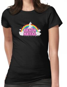DEATH METAL! (Funny Unicorn / Rainbow Mosh Parody Design) Womens Fitted T-Shirt