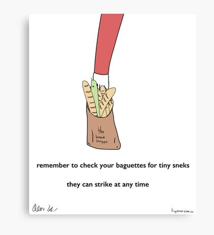 Baguettes - A Tiny Snek Comic Canvas Print