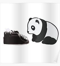 Typewriter Panda Poster