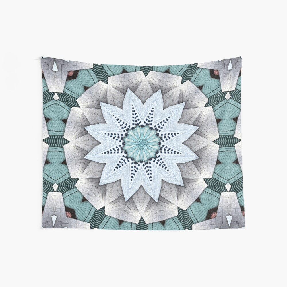 Turquoise Layers Mandala Wall Tapestry