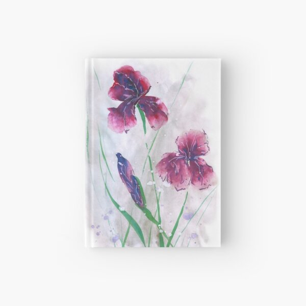 Irises in snow, painted in gouache. Hardcover Journal