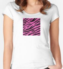 Animal background pattern - pink tiger skin texture. Background texture of pink tiger skin Women's Fitted Scoop T-Shirt