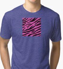 Animal background pattern - pink tiger skin texture. Background texture of pink tiger skin Tri-blend T-Shirt