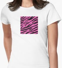 Animal background pattern - pink tiger skin texture. Background texture of pink tiger skin Women's Fitted T-Shirt