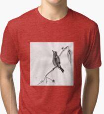 Sumi-E Wren Drawing Tri-blend T-Shirt