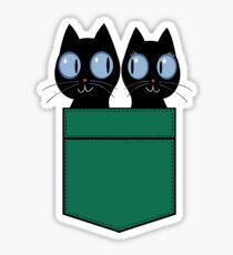 CUTE BLACK CATS IN GREEN POCKET Sticker