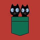 CUTE BLACK CATS IN GREEN POCKET by Jean Gregory  Evans