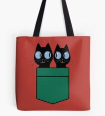 CUTE BLACK CATS IN GREEN POCKET Tote Bag