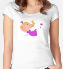 Cute Fairy Princess Character isolated on white background Women's Fitted Scoop T-Shirt
