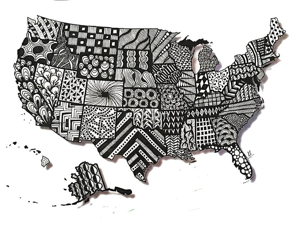 Zentangle USA Map by ruchyum Redbubble