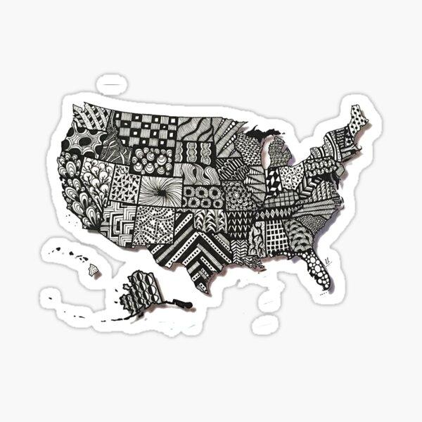 Zentangle USA Map Sticker
